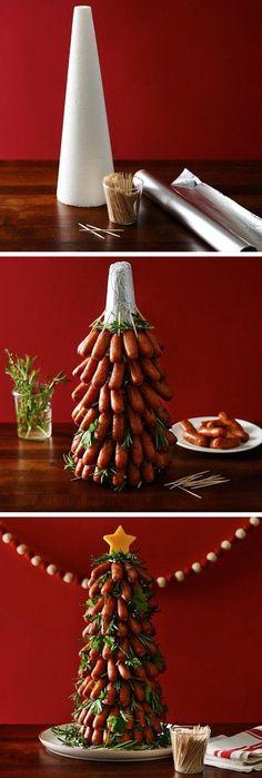 DIY Lit'l Smokies Tree // SO cUte! #christmas #holiday #ideas