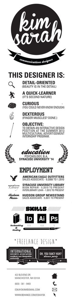 To get the job, you a need a great resume. The professionally-written, free resume examples below can help give you the inspiration you need to build an impressive resume of your own that impresses… Cv Inspiration, Graphic Design Inspiration, Portfolio Resume, Portfolio Design, Web Portfolio, Cv Original, Cv Curriculum Vitae, Visual Resume, Graphic Design Resume