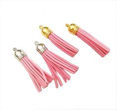 Tassels - 58mm Long Tassels - 10 Pink - Silver or Gold Cap - Decorative Tassels For Jewelry - Purse Tassels - Key Chain Tassel Pendants #tasselcharms #jewelrymaking #jewelrysupplies
