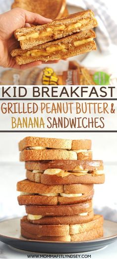 Easy Breakfast For Kids - Grilled Peanut Butter Banana Sandwich. Quick + Fun to make, this healthy breakfast idea for kids is fast to make and great for picky eaters for busy school mornings. Healthy Breakfast For Kids, Clean Eating Breakfast, Best Breakfast Recipes, Quick And Easy Breakfast, Perfect Breakfast, Healthy Snacks For Kids, Easy Snacks, Banana Breakfast, Breakfast Ideas For Kids