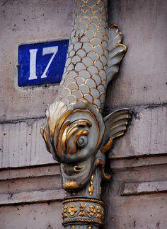Exterior drain pipe outside the Hotel de   Lauzun, 17 Quai d'Anjou, Paris