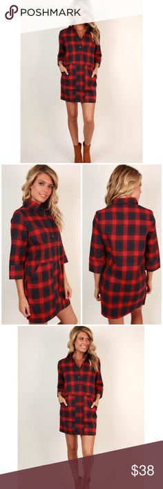 Plaid Dress This red plaid dress is unlined and has pockets. Wonderful for a fall or winter day - just add tights and boots! 100% cotton and has buttons on the front. All images from Impressions Boutique. Impressions Boutique Dresses