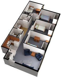 Dorm Layout, Dorm Room Layouts, Apartment Layout, Apartment Plans, Modern House Floor Plans, Home Design Floor Plans, Home Building Design, Home Room Design, House Layout Plans