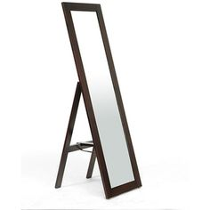 Lund Dark Brown Wood Modern Mirror with Built-In Stand | Overstock.com Shopping - Great Deals on Baxton Studio Mirrors