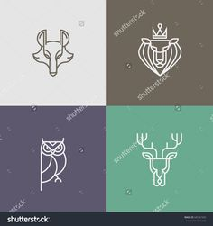Trendy Linear logo vector icon element - deer, owl, wolf, lion