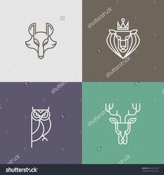 Trendy Linear logo vector icon element - deer, owl, wolf, lion