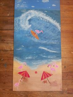 Flamingo Beach Original acrylic painting 24x48 by FromUnderTheTree, $180.00