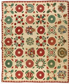 Quilt descended in the Mitchell, Hooper, Stump and Magraw families of Cecil Country, Maryland, dated Antique Quilts, Vintage Quilts, Sampler Quilts, Appliqué Quilts, Feather Crown, Two Color Quilts, American Quilt, Flower Quilts, Green Quilt