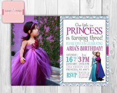 "Little Girl Frozen Princess Photo Birthday Invitations - Modern Customizable - Invite  - ""5 x 7"" on Etsy, $13.00"