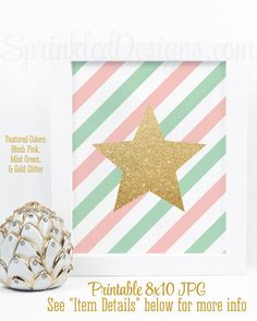 Gold Glitter Star Art Print - Printable 8x10 Sign Baby Girl Nursery Decorations, Twin Nursery, Makeup Vanity Art - Blush Pink Mint Stripes by SprinkledDesigns.com