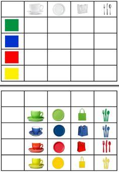 Cuadro de doble entrada con objetos de la cocina