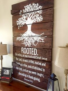 """Our Rooted piece began as a special order design on an extra large barn door! So we decided to offer it on our large sized sign measuring approximately 36""""X24"""". It is available in dark stain.   OGDS pieces come ready to hang with hardware attached as well as a """"no tool required"""" hanging hook. P..."""
