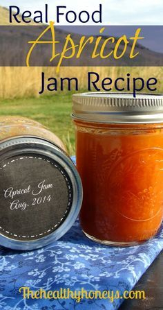Real Food Apricot Jam Recipe: no refined sugar, or corn syrup - The Healthy Honeys.made this today.first time to make apricot jam! I left out the ginger though. It turned out great! Real Food Recipes, Paleo Recipes, Jelly Recipes, Sauce Recipes, Apricot Jam Recipes, No Sugar Apricot Jam Recipe, Salsa Dulce, Jam And Jelly, Home Canning