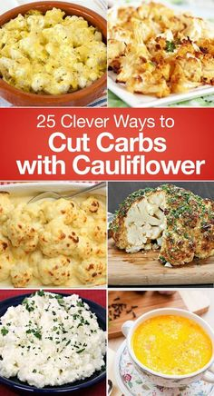 25 Clever Ways to Cut Carbs with Cauliflower including Tortillas, Low Carb Falafel, Parmesan Garlic Mashed Cauliflower, Everything Bagel Rolls, Hash, Cauliflower Crust Stromboli, Hummus, Mac and Cheese Casserole, Shepherd's Pie, Buffalo Wings, Rice, Potato Salad, Chicken Casserole, Pizza Bagels, Soup, Oatmeal, and More!