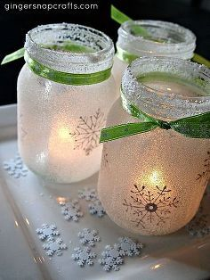 white christmas mason jar lumaries, christmas decorations, crafts, decoupage, electrical, lighting, mason jars, seasonal holiday decor, I love how they turned out