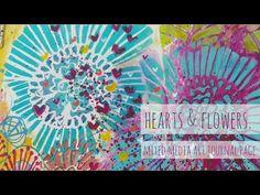 Hearts & Flowers - Mixed Media Art Journal Page - Lulu Art Design Team 2018 Art Journal Pages, Art Journals, Sketchbooks, Mixed Media Art, Stencils, Doodles, Bloom, Tutorials, Videos