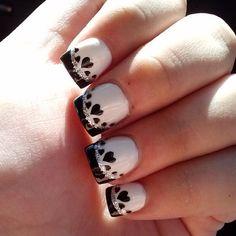 Wedding nails - instead of the black you could replace it with your wedding colors =)