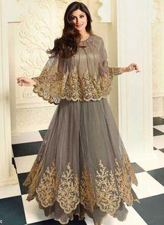 Shilpa Shetty Grey Net Embroidery Cut Work Multi Layer Designer Anarkali Suit  http://www.angelnx.com/Salwar-Kameez