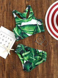 Green Leaf Print Ladder Cutout Racer Back Tankini - Bikini Modelle Summer Bathing Suits, Cute Bathing Suits, Summer Suits, Summer Wear, Bikini Babes, Bikini Modells, Cut Out Bikini, Bikini Beach, Tankini