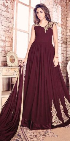 Maroon Embroidered Work Floor Touch Anarkali Suit With Georgette Material