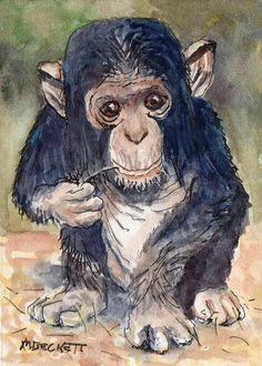 ACEO Original Baby Chimpanzee animals ape monkey jungle Africa young chimp #Impressionism
