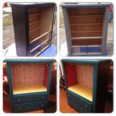 Dresser repurposed to be a child's wardrobe.