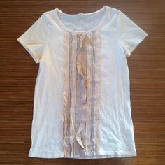 Gorgeous Blush J.Crew Top with Ruffles in Front This top is so gorgeous! I wish it fit me because I love it! It is a beautiful blush colored, J.Crew top! It is very soft and has subtle and classy ruffling in the front! Check it out! J. Crew Tops