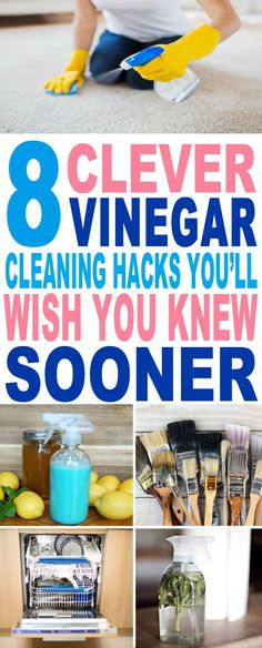 These are the BEST vinegar cleaning hacks I've ever seen!! Glad to have found these amazing vinegar hacks and tricks. Will try them for sure. Pinning for later.