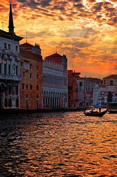 Sunset Over Grand Canal, Venice, Italy.  One of my favorite places in the world.  So romantic and beautiful.