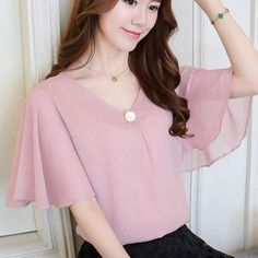 Women Summer Blouse Shirt Top Chiffon OL Ruffle Short Sleeve Plus Size Casual Loose Elegant Blouses Chiffon Shirt, Chiffon Tops, Chiffon Blouses, Cheap Womens Tops, Casual Tops For Women, Ladies Tops, Sleeves Designs For Dresses, Mode Jeans, Summer Blouses