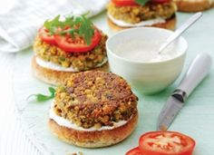 Mushroom & chickpea burgers from BBC Good Food - hopefully the sun will be shining for the Bank Holiday weekend! These interesting twist on a burger are only 217 calories per serving. Burger Recipes, Veggie Recipes, Vegetarian Recipes, Healthy Recipes, Chickpea Recipes, Healthy Food, Chickpea Burger, Vegan Burgers, Bbc Good Food Recipes