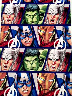 Marvel Avengers Hulk, Thor, Iron-Man, Captain America All Over FABRIC - Different Sizes