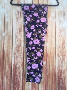 3995ecbeca60d Lularoe-TC-TALL-CURVY-Leggings-Navy-Purple-Floral-Flowers-Hidden-Unicorn-NWT