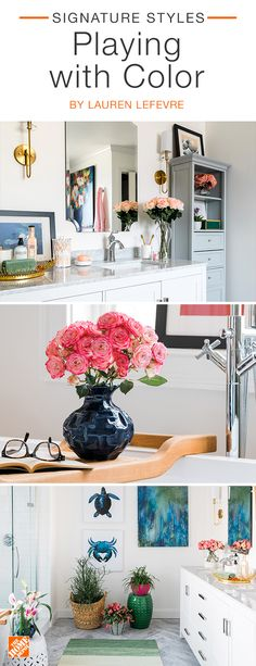 Fashion blogger Lauren Lefevre  is a pro when  it comes to mixing  colors. The  soft blush  pinks in her stylish  master  bath stand out  against deeper rich blue accents,  while  earthy greens add a fun  and colorful  touch. Click to see more on-trend accessories.