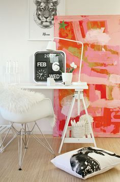 colorful and cute little work space! Home Office Space, Home Office Decor, Home Decor, White Rooms, Interior Design Inspiration, Color Inspiration, Space Crafts, Architecture, Home Projects