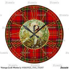 Vintage Look Westie Large Clock