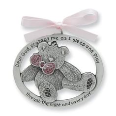 """Pretty TEDDY BEAR Crib Medal for Baby GIRL Crib Medal with Verse 4"""" PEWTER Finish - CHRISTENING/SHOWER GIFT/Baptism KEEPSAKE/with PINK RIBBON - INFANT - Newborn   Adorable TEDDY BEAR Crib Medal for Baby girl as pictured and described above. Read  more http://shopkids.ca/baby-girls/pretty-teddy-bear-crib-medal-for-baby-girl-crib-medal-with-verse-4-pewter-finish-christeningshower-giftbaptism-keepsakewith-pink-ribbon-infant-newborn"""