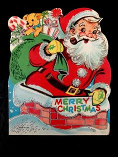 1960's Vintage Xmas Card SANTA Climbs Down Brick Chimney Glittered Die Cut