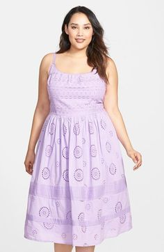 Adrianna Papell Cotton Eyelet Fit & Flare Midi Dress - Nordstrom