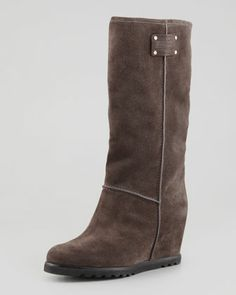 Standard Supply Logo Suede Wedge Knee Boot, Gray by MARC by Marc Jacobs at Neiman Marcus.