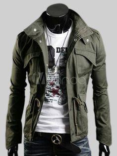 Manteau militaire avec poches à rabat et lien de serrage - Milanoo.com