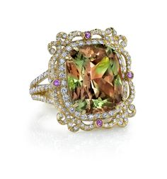18k Gold and Diamond Zultanite Picture Frame Ring by Erica Courtney®