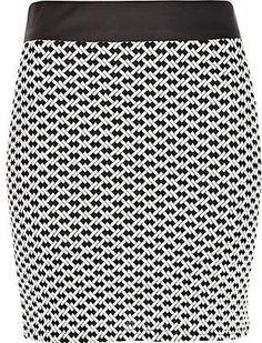 #River Island             #Skirt                    #Black #white #jacquard #mini #skirt #mini #skirts #skirts #women             Black and white jacquard mini skirt - mini skirts - skirts - women                                      http://www.seapai.com/product.aspx?PID=271420