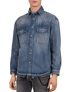 The Kooples Distressed Denim Regular-Fit Shirt Men - Bloomingdale's Denim Button Up, Button Up Shirts, Denim Shirt Men, The Kooples, Distressed Denim, Workout Shirts, Shop Now, Mens Fashion, Fitness