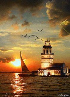 #Lighthouse at Sunse
