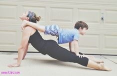 Upward Facing Dog Tandem 1 - I would love to do this with Kiddo. I bet it would feel great on my hips