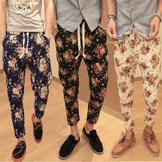 Hot Sell Floral Slim Fit Slack Trousers Linen Cotton Short Harem Pants 3 Colors #Unbranded #CasualPants