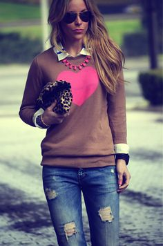 My idea:  sew a heart onto a shirt or sweater using cashmere sweater scraps