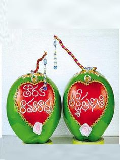 Decorated Coconuts For Weddings Marriage Decoration, Wedding Stage Decorations, Flower Decorations, Wedding Art, Wedding Crafts, Kalash Decoration, Coconut Decoration, Flower Rangoli, Wedding Rituals