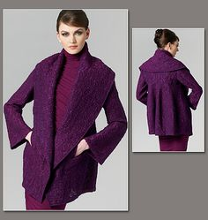 Donna Karan Collection V1263 (also the Alabama Chanin Craftsy Class pattern) Very loose-fitting jacket has side front pockets and flat felled seams.